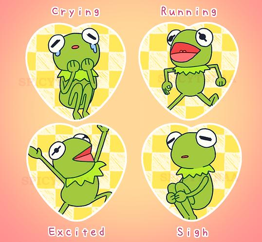 Kermit Heart Pins