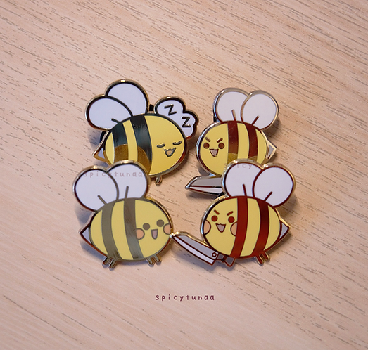 Bee Enamel Pins 1.25""