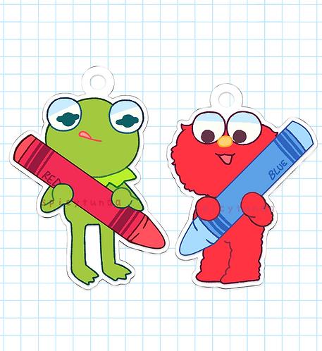 """Kermie & Elmo Crayon Charms - 2.5"""""""