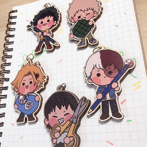 """BNHA Wooden Charm 2.5"""" - Back to School"""