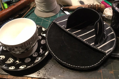 Nightmare before Christmas teacup and saucer set in hand made leather belt pouch