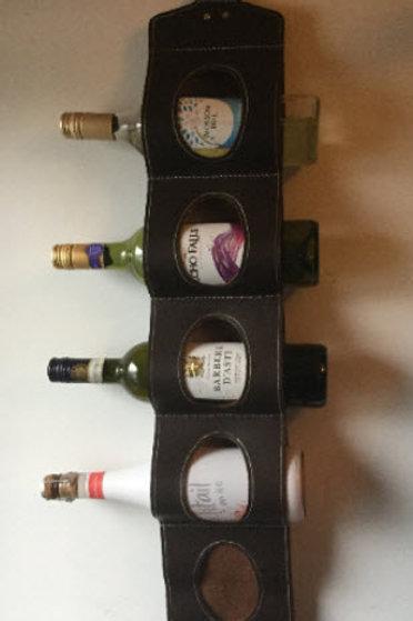 5 bottle leather wine rack