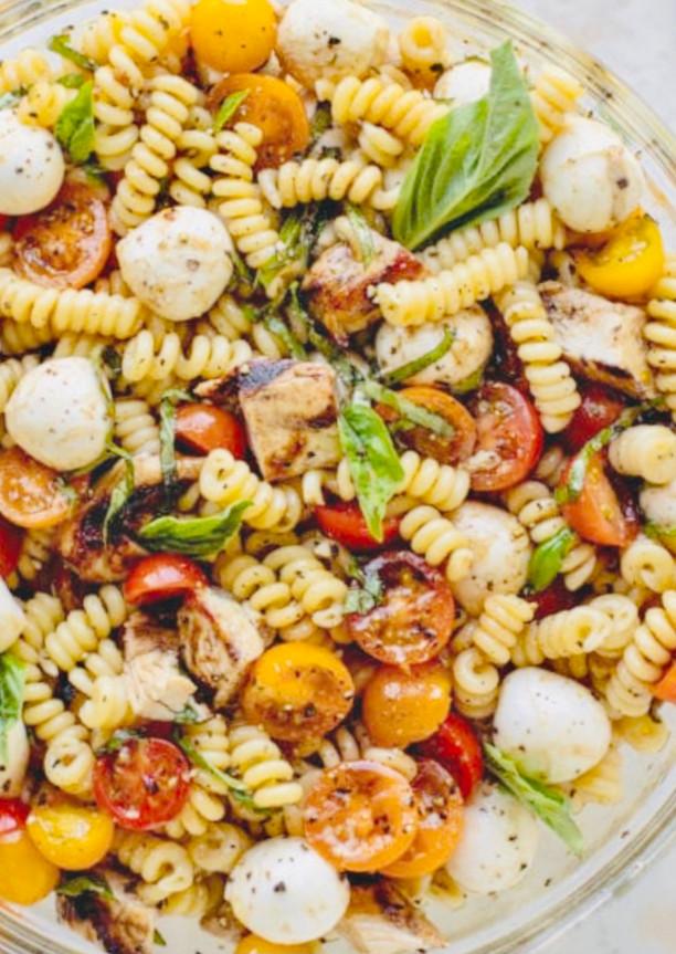 Grilled Chicken Caprese Pasta Salad