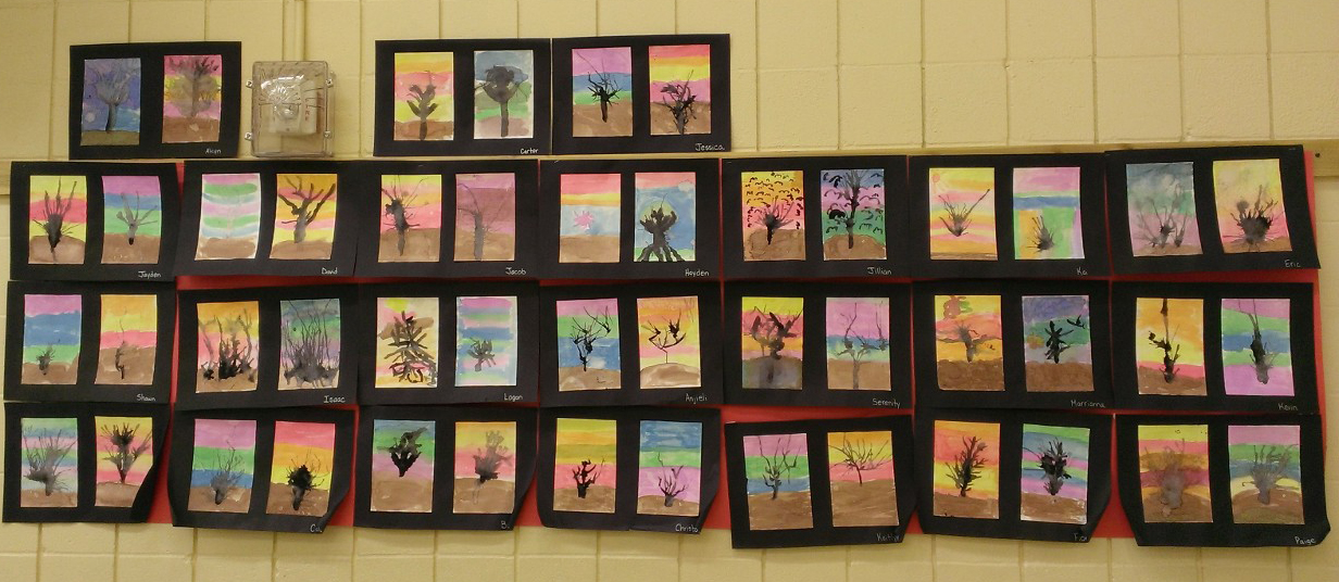 5th Grade - Blown Ink trees