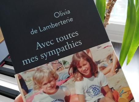 Toutes mes sympathies, Olivia de Lamberterie, Prix Renaudot Essai, 2018