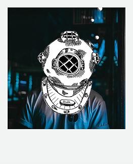 The Diver Polaroid - Blue Neon