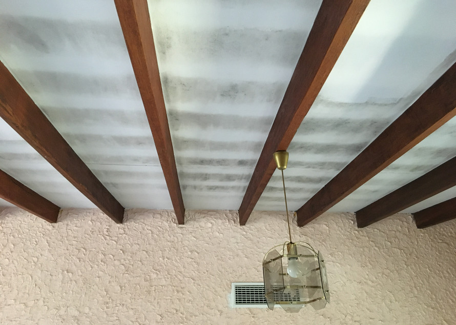Stained ceiling before