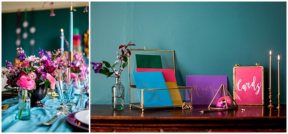 wedding cards, brass boxes, coloured candles, turquoise silk table runner