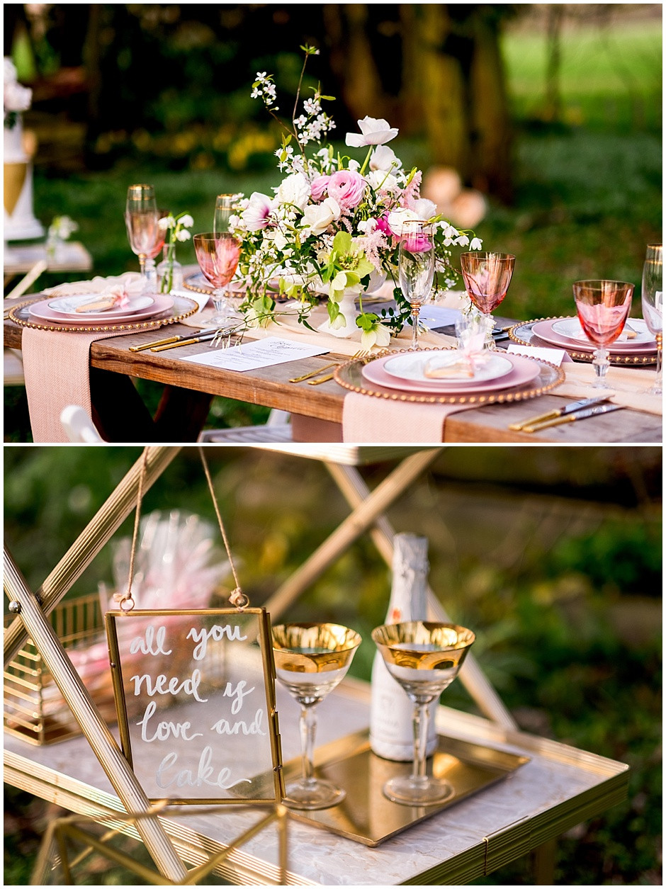 all you need is love and cake, champagne for 2, pink and white outdoor wedding
