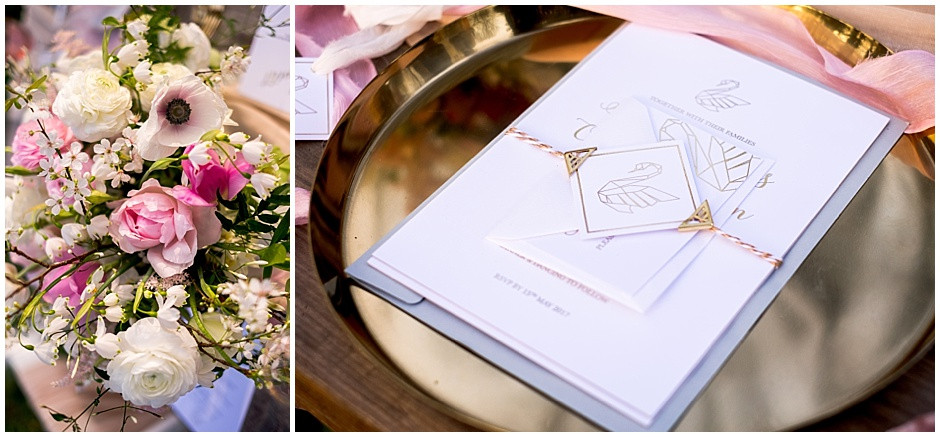 geometric swan invitation, gold foil invitation, pink and white centrepiece