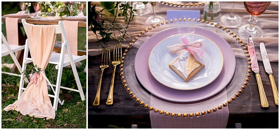 blush chair sashes, pink chair sashes, decorated biscuits, geometric biscuits, pink plates, gold beaded charger plates, gold cutlery