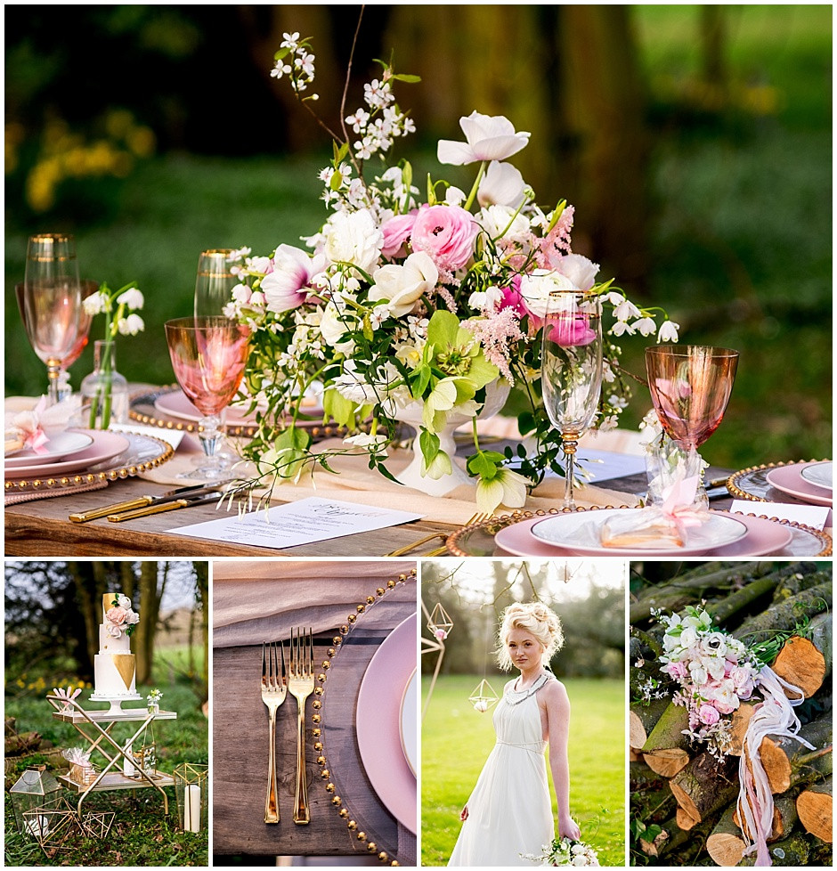 Pink and white elegant low floral centrepiece, coloured water glasses, pink water glasses, gold rimmed glasses, gold cutlery, pink and white rustic bouquet