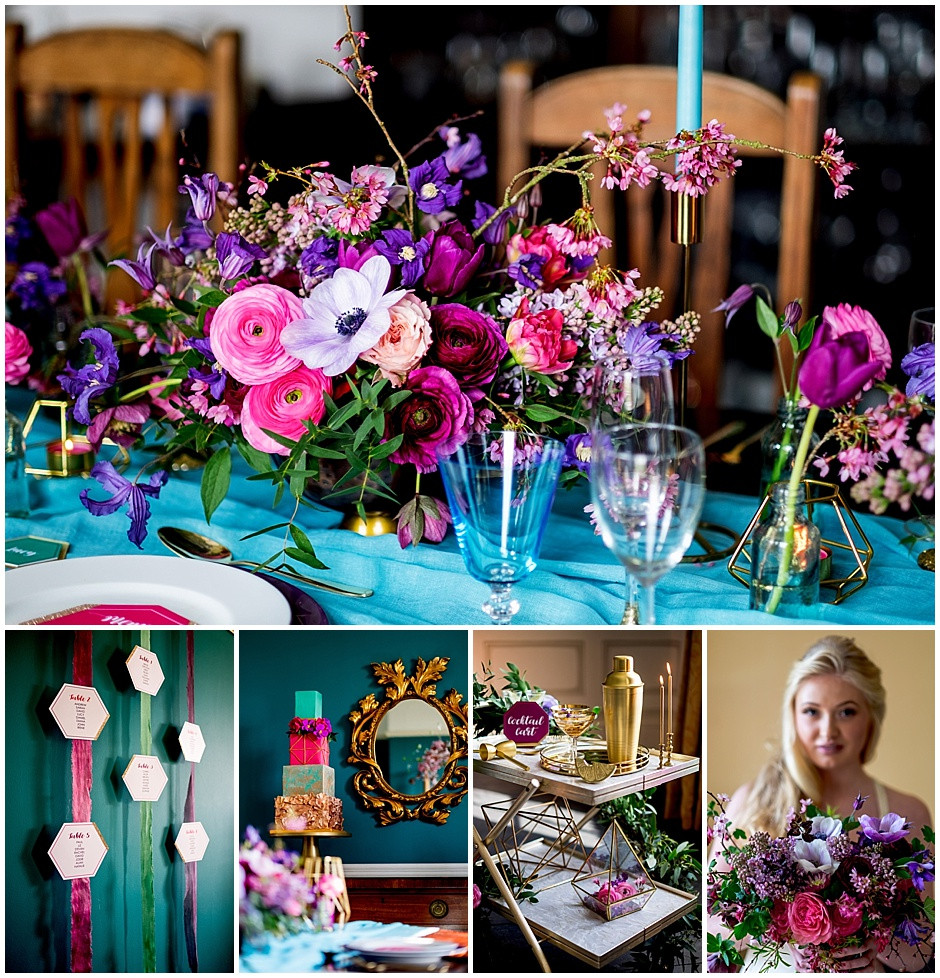 Bright flowers, colourful wedding cake, bright hanging table plan, drinks trolley