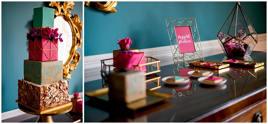 4 tier bright cake, square cake, geometric wedding cake, dessert station, geometric biscuits, bright mini cakes
