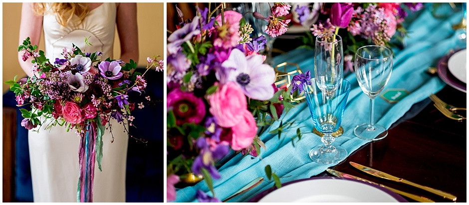 bright bouquet, coloured water glasses, gold cutlery