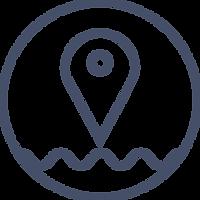 mapa queda marinha com linha de água