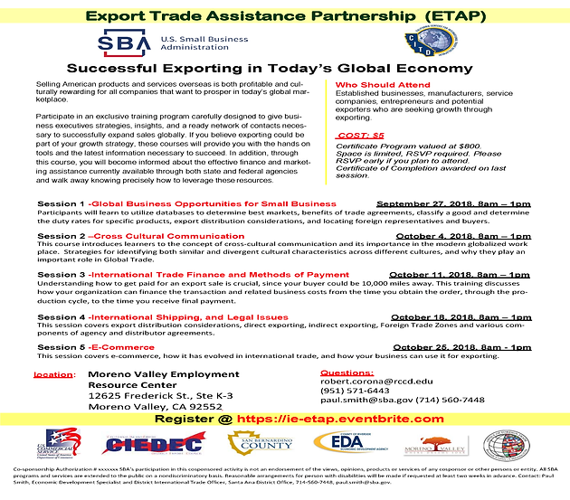 Export Trade Assistance Partnership Coming to Moreno Valley