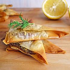 Shrimp, Spinach, and Feta Triangles