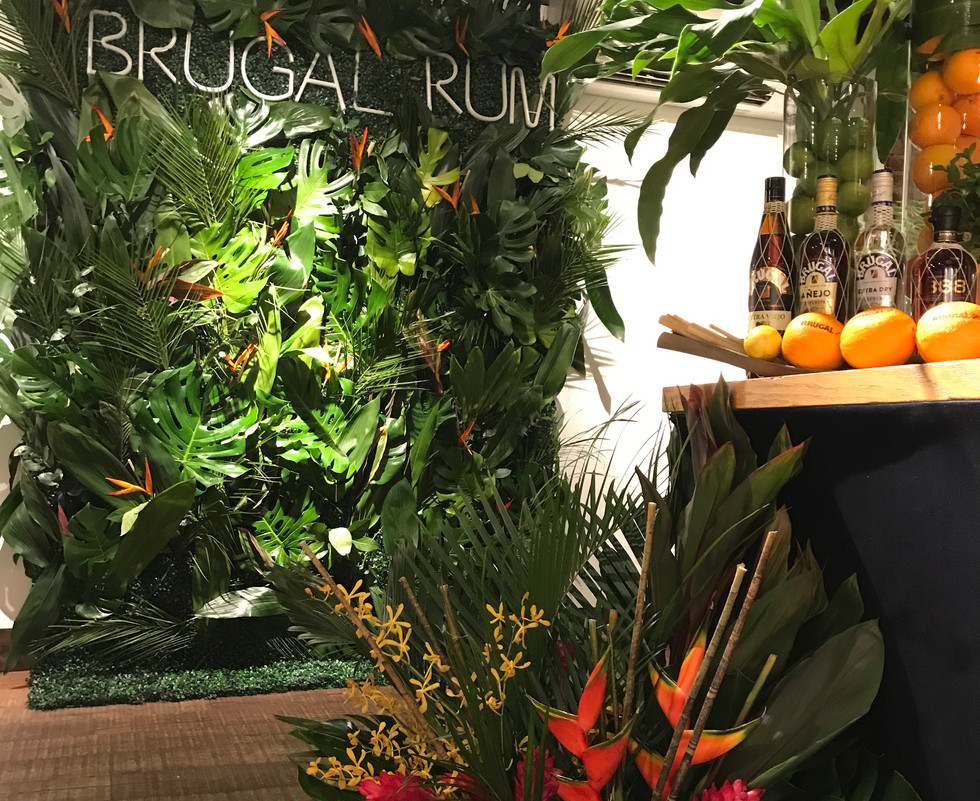 Brugal Rum Papa Andres Launch flower wall by larkspur botanicals