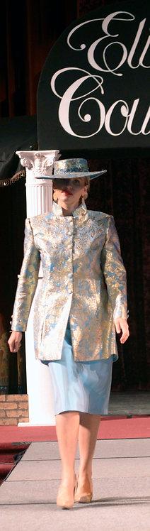 Turquoise Brocade Jacket/Skirt