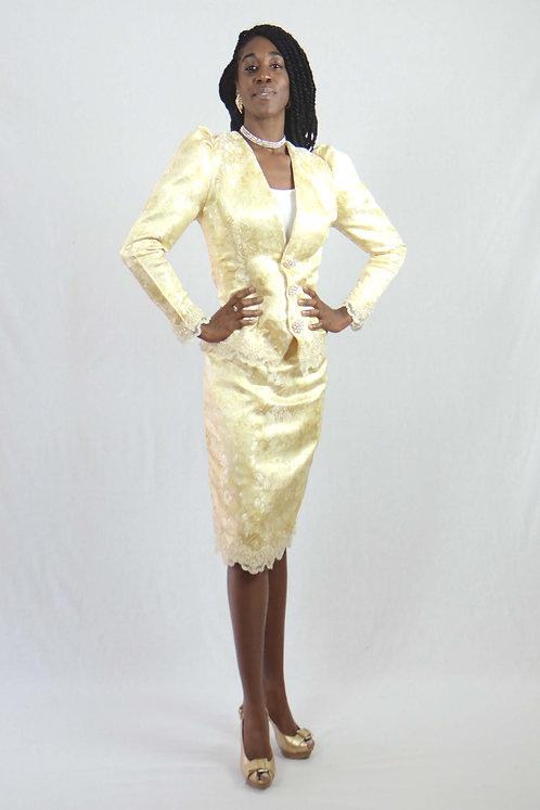 Yellow Brocade Skirt Suit