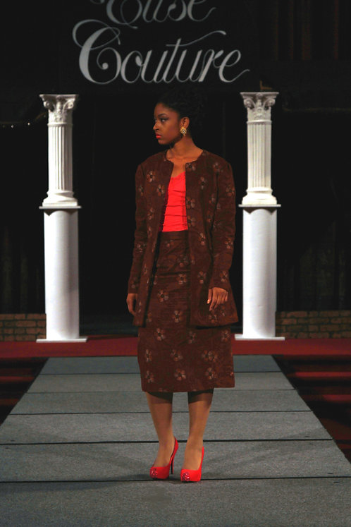 2pc. Brown Jacket/Skirt