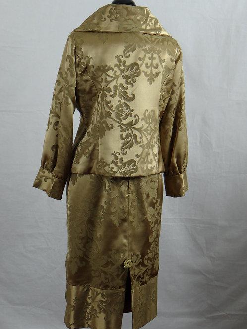 2pc. Bronze Brocade Skirt Suit