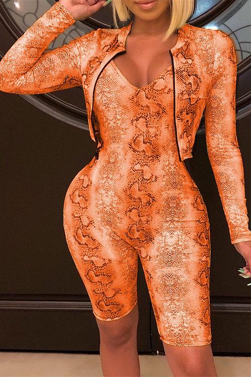 Orange Snake Skin Playsuit Set