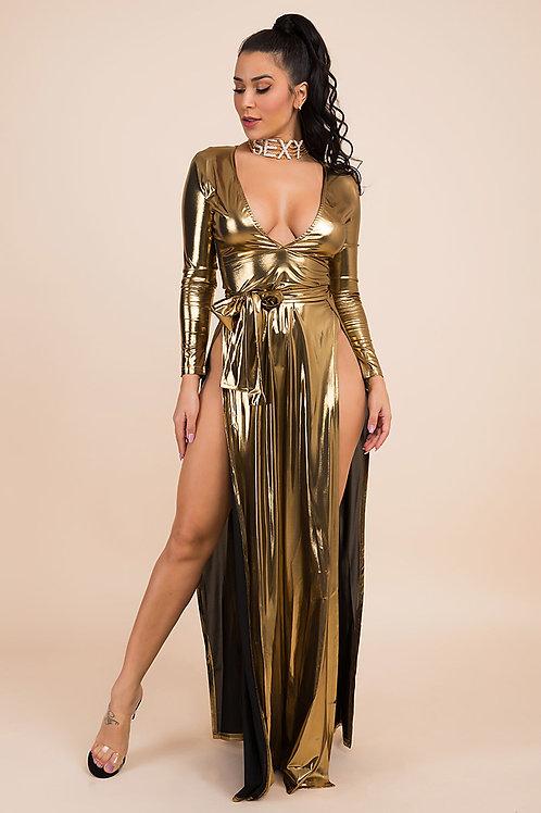Deep V Neck High Slit Dress