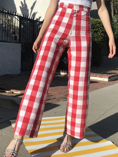 Wide Leg Chequered Pants