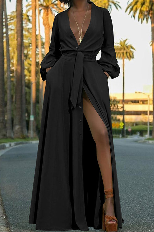 Black High Slit V Neck Dress