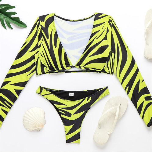 Yellow Zebra Print Two Piece Bikini