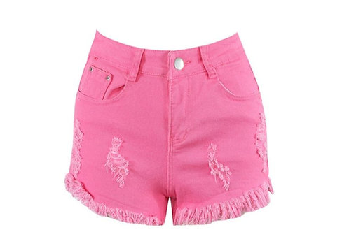 Fuschia Ripped Denim Shorts