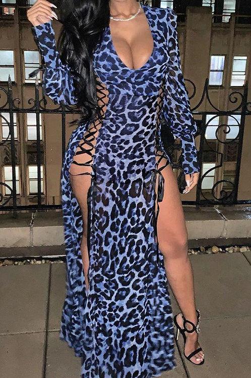 Bandage Leopard V Neck Dress