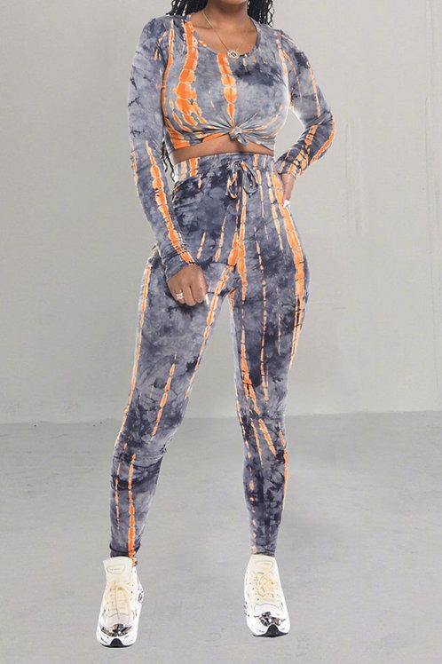 Two Piece Slim Fit Orange Set
