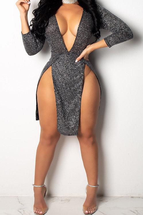 V Neck Slit Thigh Dress