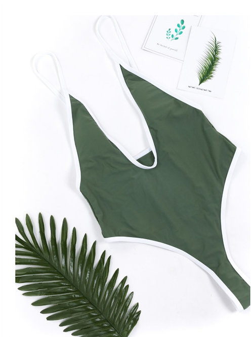 Olive  V strap backless  Swimsuit