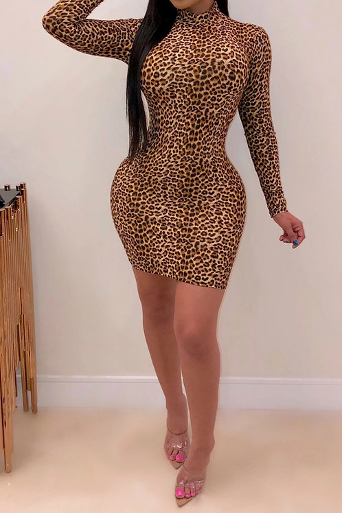 Brown Fitted  Leopard Print Dress