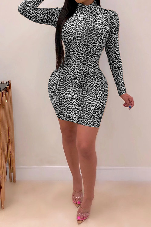 Grey Print Leopard Print Dress