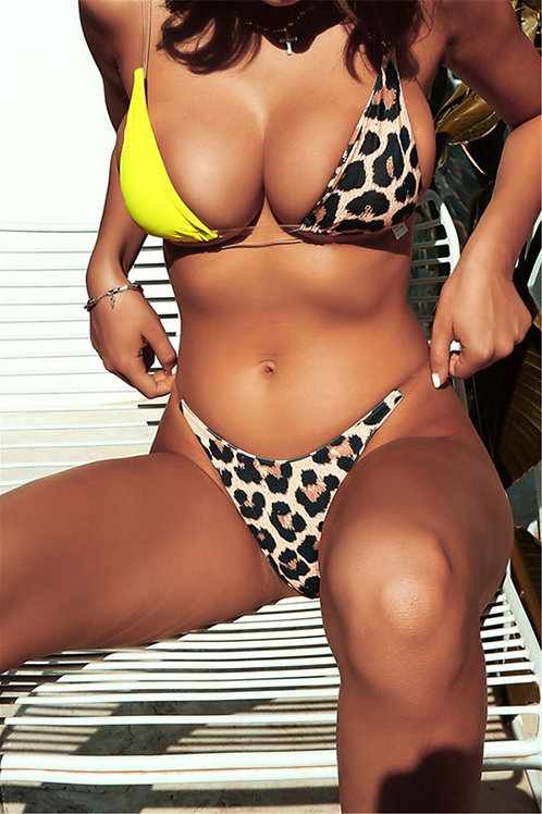 Colour Block Leopard Swimsuit