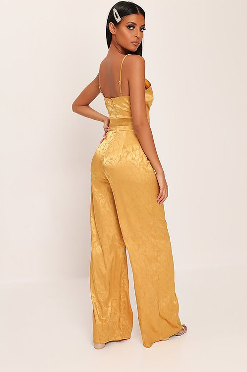 Gold V Neck Jumpsuit