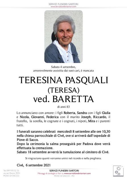 Pasquali Teresina (Teresa) ved. Baretta