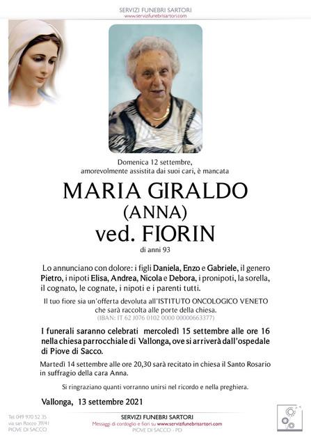 Giraldo Maria (Anna) ved. Fiorin