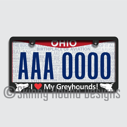 "Black Plastic License Plate Frame ""I Love My Greyhounds!"""