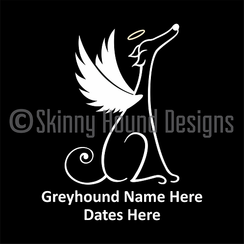 Greyhound Angel Decal - Add Name and Dates