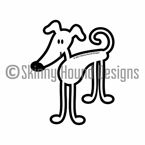 Standing Stick Figure Greyhound Printed Vinyl Decal
