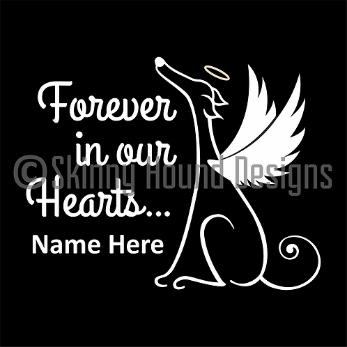 """Forever in Our Hearts"" Greyhound Angel Decal - Customize With Name(s)"