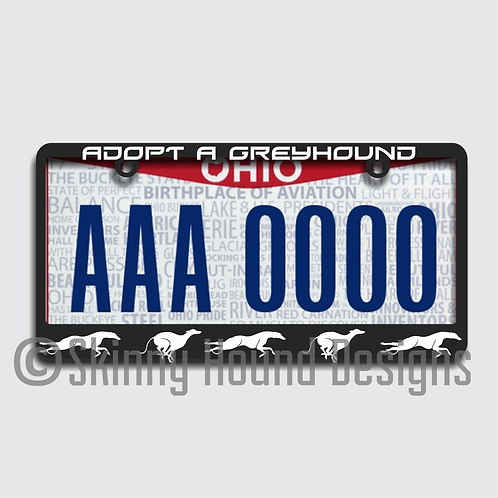 "Black Plastic License Plate Frame ""Adopt a Greyhound"""
