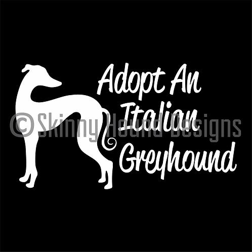 """""""Adopt An Italian Greyhound"""" Decal"""