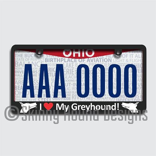 "Black Plastic License Plate Frame ""I Love My Greyhound!"""